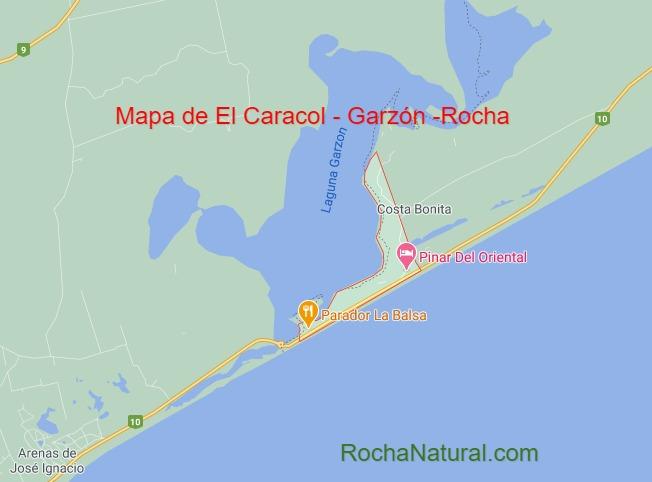 Mapa de El Caracol y Laguna Garzon, Rocha